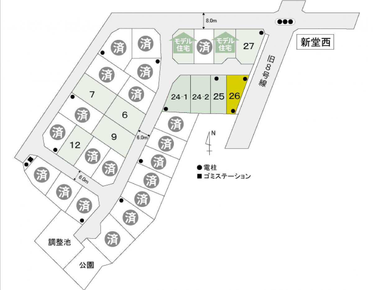 黒部市荻生NO.26(陽だまりタウン桜井)区画図
